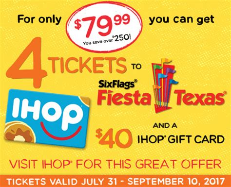 Ihop Gift Cards At Cvs - 4 six flags fiesta texas tickets a 40 ihop gift card for 79 99 coupons are my