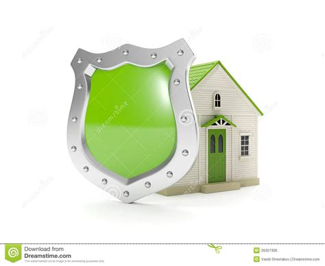 3d illustration home shield stock illustration image