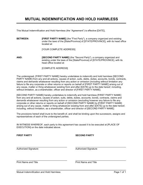 indemnification clause template indemnification and hold harmless agreement