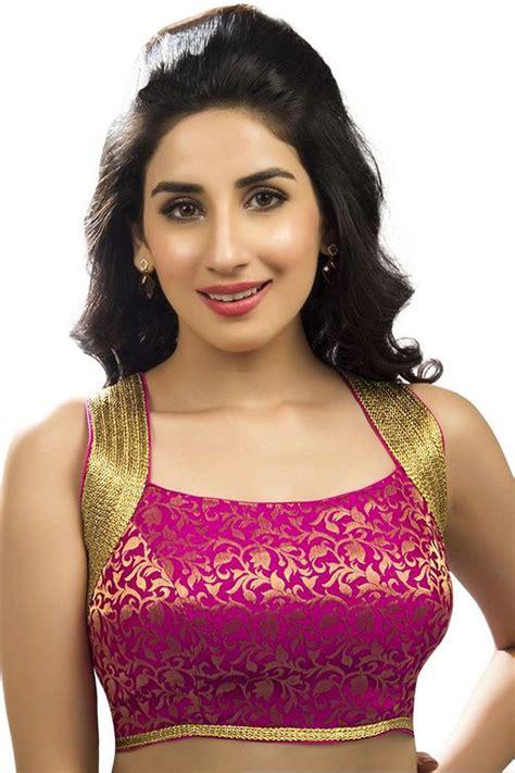 Blouse Semi Kaftan Branded pink gold designer wear banarasi semi brocade enticing blouse bl712 new indian blouse