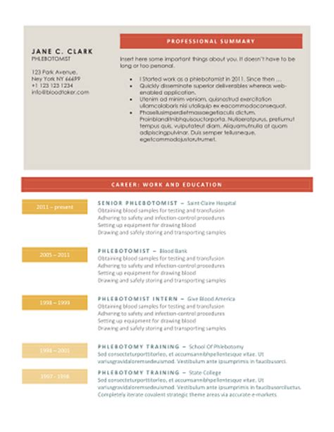 Download 10 Professional Phlebotomy Resumes Templates Free Free Phlebotomist Resume Templates