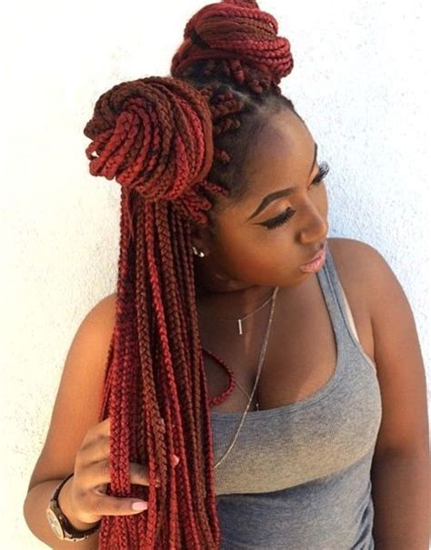 gold on top red on bottom box braids top 20 all the rage looks with long box braids