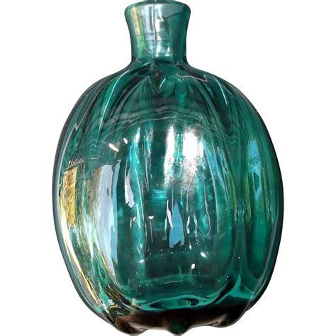 Teal Glass by Blown Studio Glass Vintage Flask Bottle Vase Teal