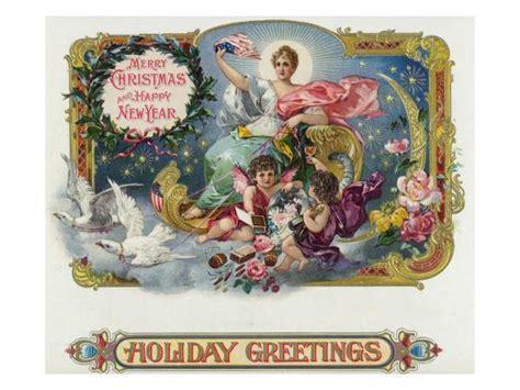 holiday  brand cigar box label merry christmas  happy  year poster  lantern