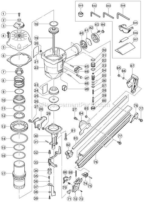 hitachi nail gun parts diagram hitachi nr90ac2 parts list and diagram ereplacementparts