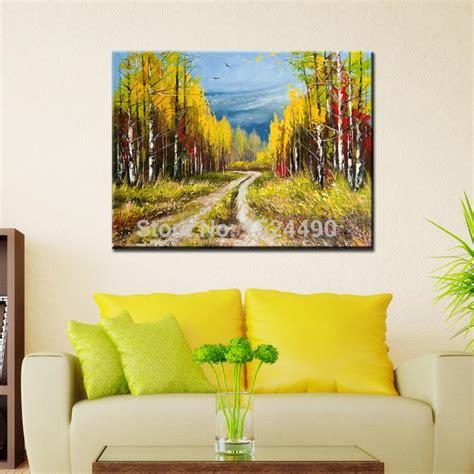 Handmade Modern - handmade modern forest path landscape painting on