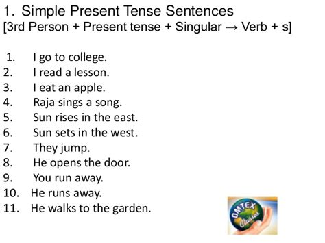 sentence pattern of simple present tense tense