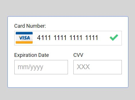 Credit Card Form Validation Script minimal credit card input validation library