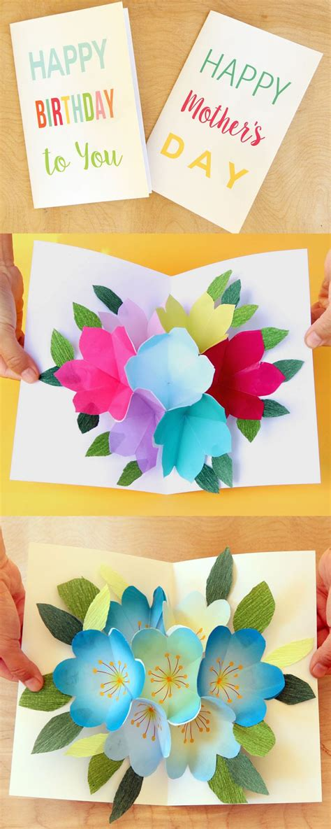 template happy diy cards free printable happy birthday card with pop up bouquet a