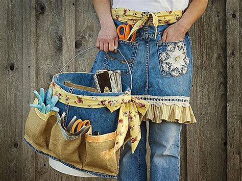 apron pattern using old jeans make a denim garden apron tool caddy from old jeans