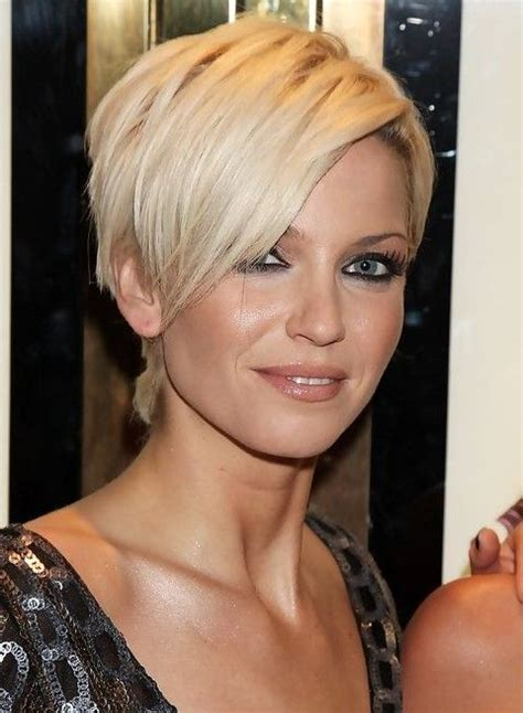 long bob and pixie cuts for diamond faces sarah harding short blonde pixie cut with long bangs