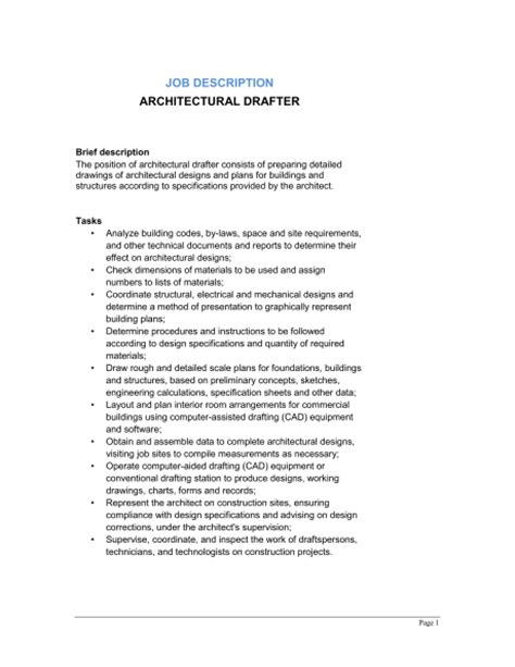 layout drafter job description architectural drafter job description template sle