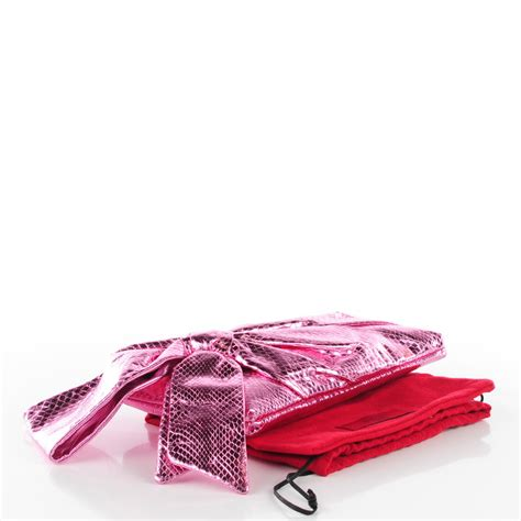 Bow Clutch by Valentino Python Bow Clutch Pink 113837