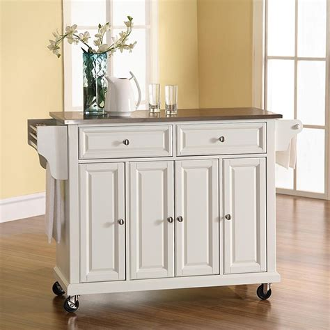 kitchen island cart with stainless steel top white crosley stainless steel top kitchen cart