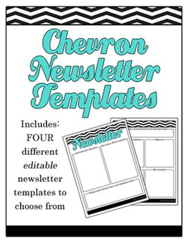 Chevron Editable School Newsletter Templates Elementary Tpt Editable Newsletter Template