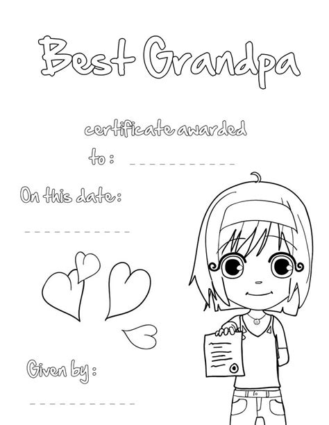 printable coloring pages for grandma best grandpa certificate coloring pages hellokids com