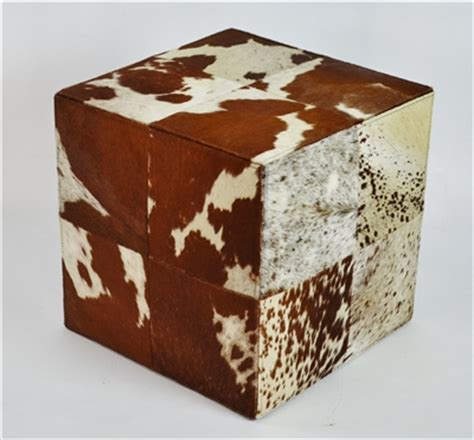 cowhide ottoman cube rustic brown and cream cowhide ottoman cube