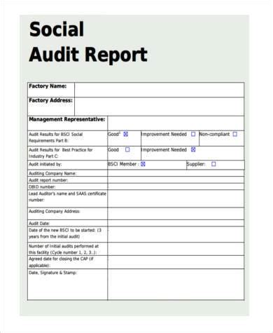 Sle Audit Report Template Social Audit Report Sle 28 Images Sle Audit Report