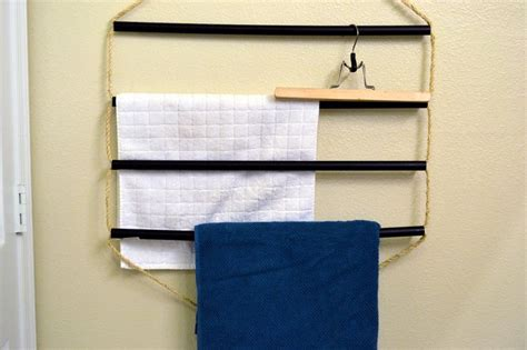 towel rack small bathroom small space diy flat towel rack diy decor pinterest