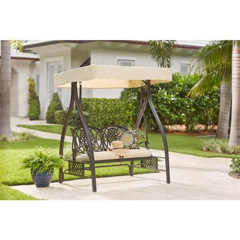 b q swing chair hton bay spring haven brown 2 person wicker outdoor