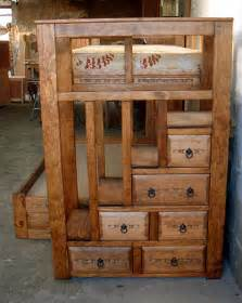 bunk bed with stairs and drawers bunk beds custom southwest style sizes