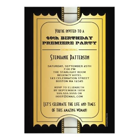 Premiere Invitation Template by Premiere 40th Birthday Photo Gala