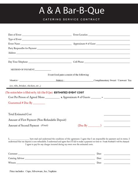 Sle Catering Contract Template by Contract Catering Contract Template