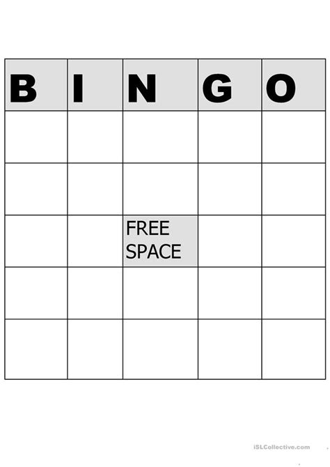 esl bingo card template some any no grammar 5 tasks 2 pages with key
