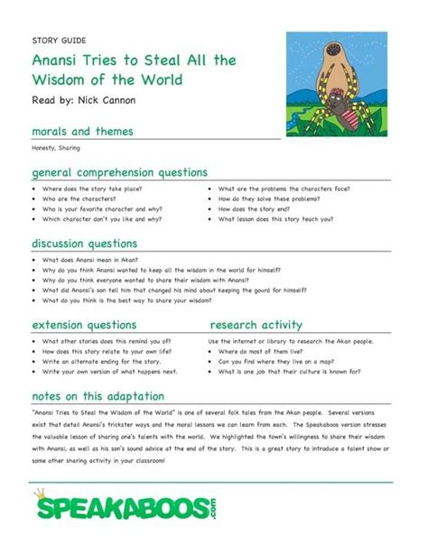 Printable Version Of Anansi Wisdom Story | 14 best african folktale images on pinterest school