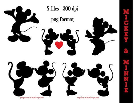 mickey mouse  minnie mouse silhouettes minnie mouse