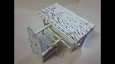 How To Make Newspaper Paper - diy how to make chair and study table using news paper