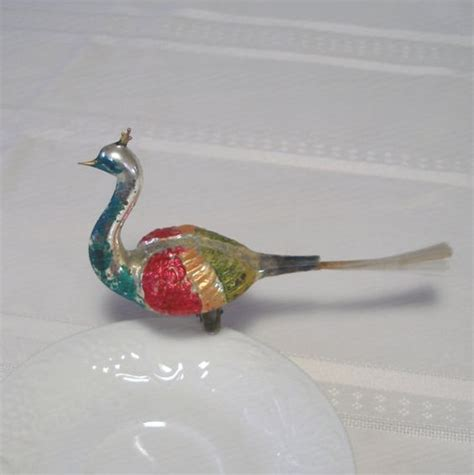 rare large 7 quot antique german mercury glass peacock bird