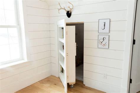 diy hidden bookcase door    bright green door