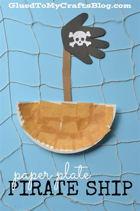 paper plate pirate ship kid craft glued to my crafts