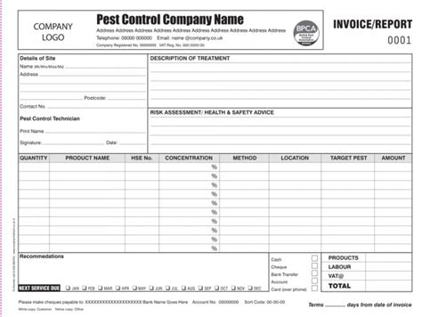Pest Control Invoice Report Printing Personalised Duplicate Pads Pest Log Sheet Template