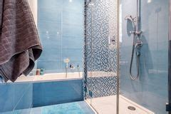 white house bathtub open shower and bathtub in a modern home stock image