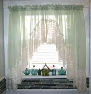 Green Bathroom Window Curtains Light Green Sheer Lace Window Curtain Drapes Bathroom Kitchen