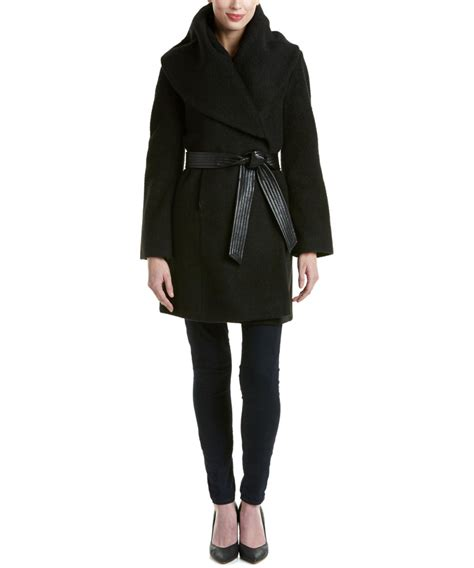 Wool Blend Wrap Coat via spiga wool blend wrap coat in black lyst