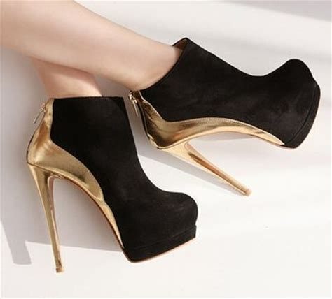 Heels Black List Gold black and gold high heel booties on luulla