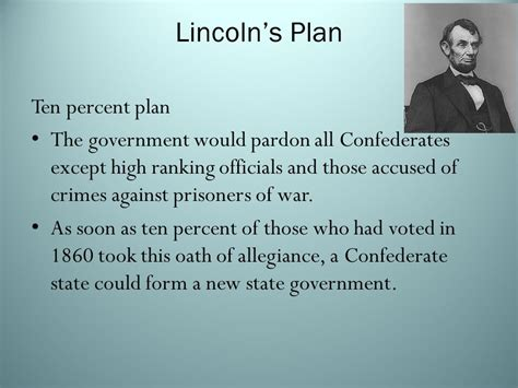 lincoln s 10 percent plan reconstruction and its effects ppt