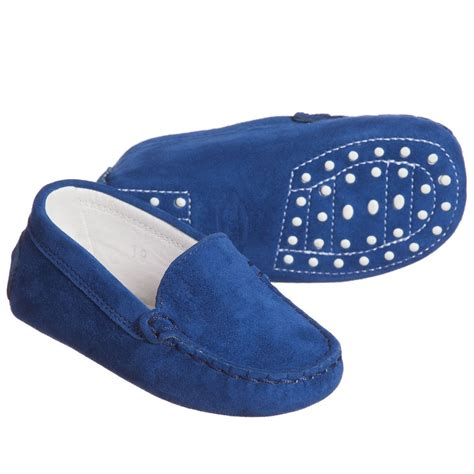 Navy Blue Suede Tod S Navy Blue Suede Leather Gommini Baby Moccasins