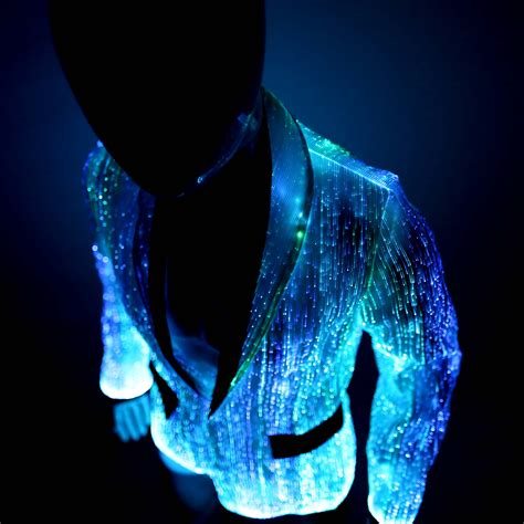 led light up clothing light up jacket glow in the dark and fiber optic ymyw