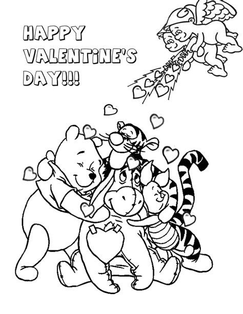 Winnie The Pooh And Valentine Cupids Coloring Page H M Winnie The Pooh Valentines Day Coloring Pages