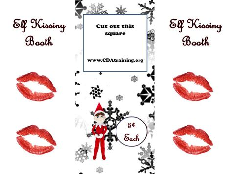 printable elf on the shelf kissing booth template elf on the shelf ideas