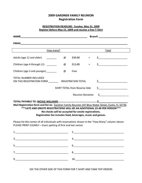 Family Reunion Registration Form Template Family Reunions Pinte C Registration Form Template
