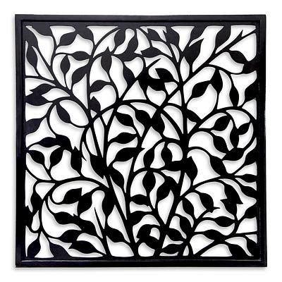 balinese handcrafted black wood wall panel midnight
