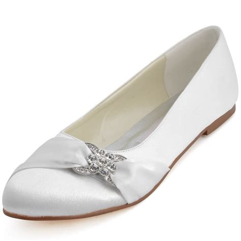 Flat Satin Wedding Shoes by Ep2006 Comfot Closed Toe Flat Heel Ballet Rhinestones