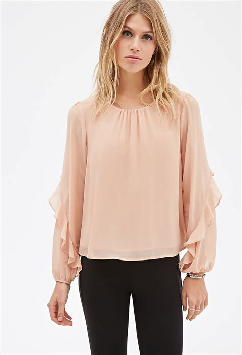 Sleeve Ruffled Shirt sleeve ruffled blouse smart casual blouse