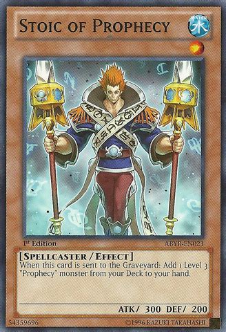 Kartu Yugioh Justice Of Prophecy Common stoic of prophecy abyr en021 common 1st edition yu gi oh singles 187 abyss rising