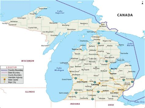 usa map michigan state map of michigan state map of usa
